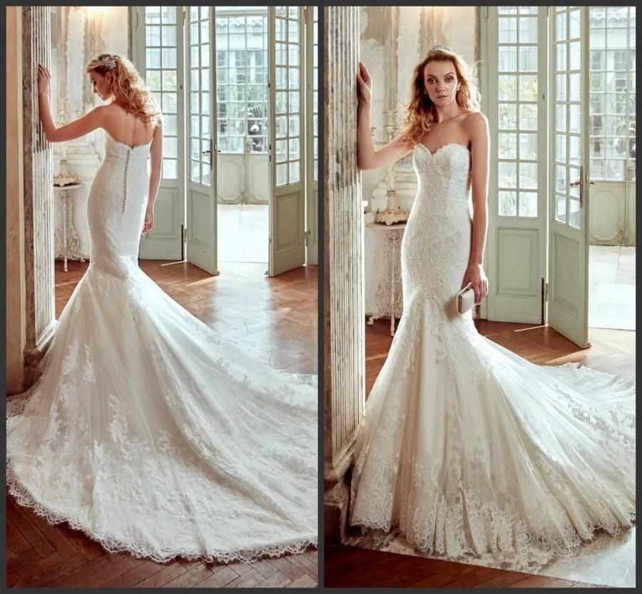 New Style Ivory Lace Sweetheart Wedding Dresses Gowns Chapel Length ...