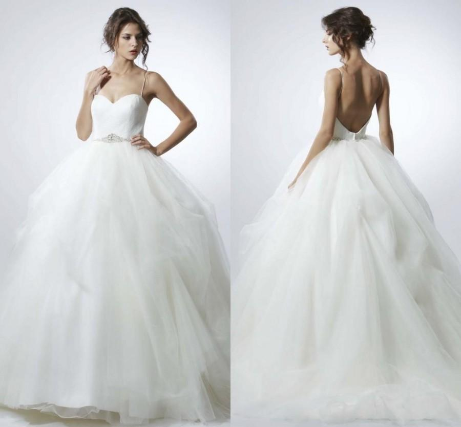 Backless Wedding Gowns: Beautiful Backless 2016 Wedding Dresses Spaghetti Straps