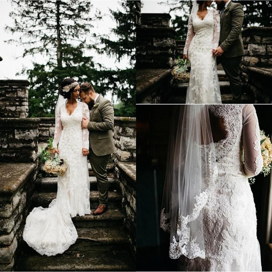 Shop Online Beach Wedding Dresses Cheap Wedding Dresses: 2016 Country Beach Mermaid Wedding Dresses Long Sleeve