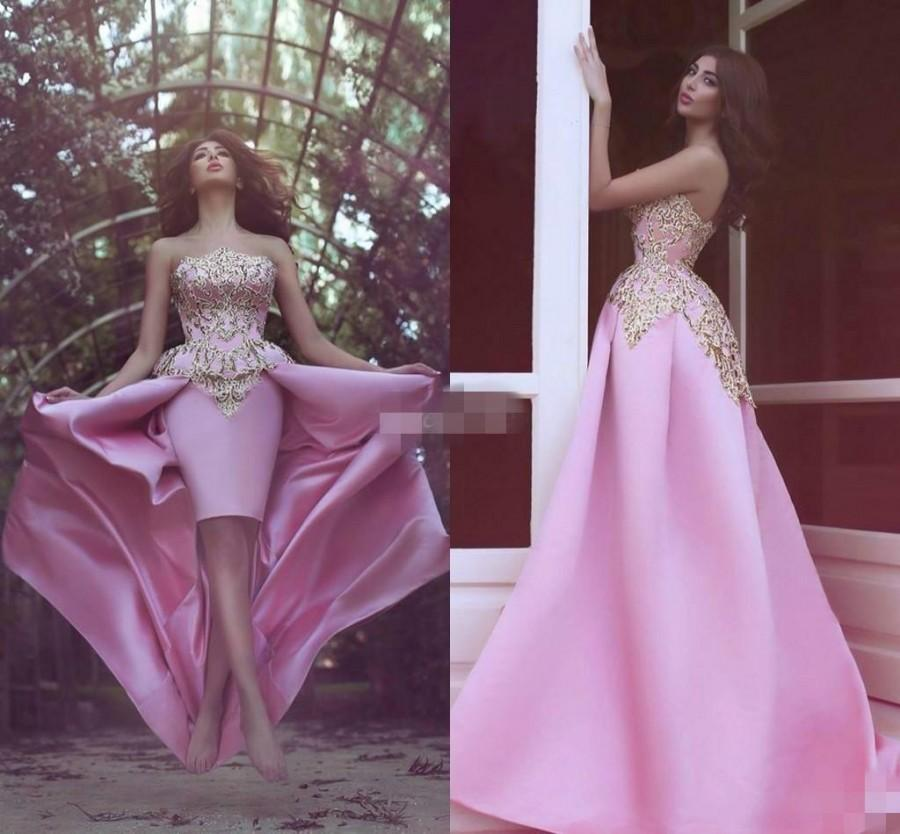 New Design High Low Prom Dresses Sheath With Gold Applique Pink ...