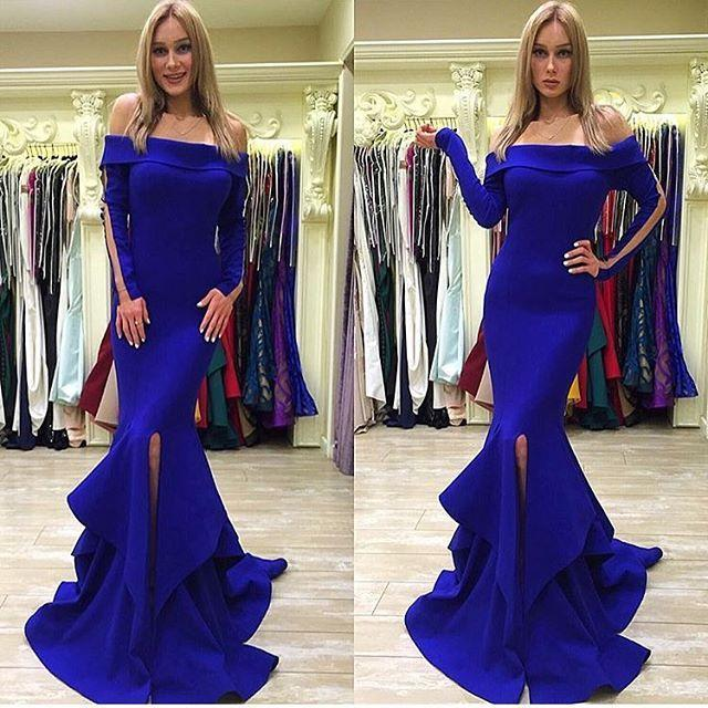 Fashion 2016 Mermaid Royal Blue Bateau Evening Dresses Prom Party With Long  Sleeves Sexy Formal Vestido De Noche Pageant Occasion Gowns Online with ... 472f41fbb