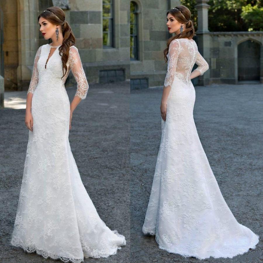 New designer mermaid lace wedding dresses 2016 half sleeve for Half sleeve wedding dress