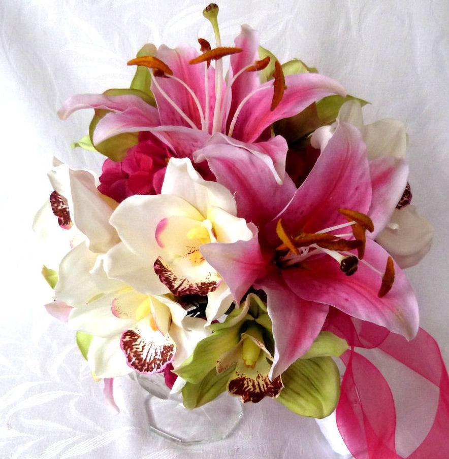 Hochzeit - 4 Piece set Orchid Bridal Bouquet green hot pink and white orchid tropical wedding bouquet destination wedding