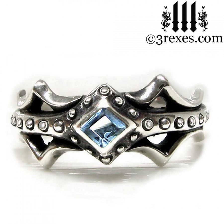 Hochzeit - Fairy Princess Silver Engagement Ring Blue Topaz Size 5
