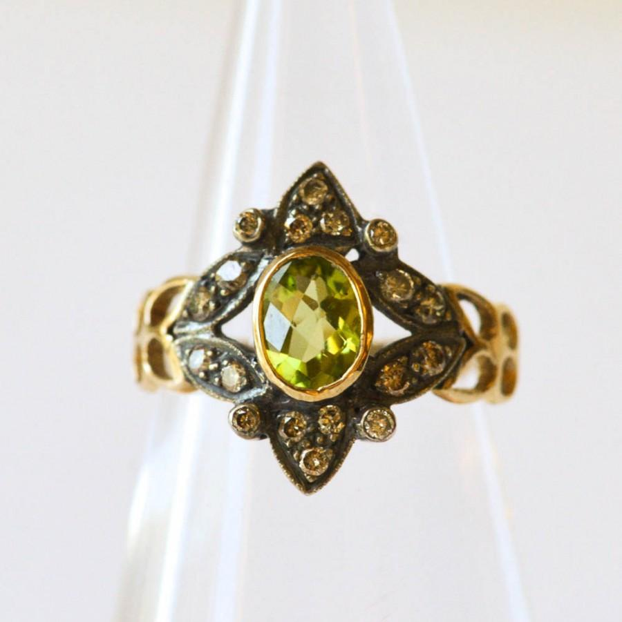 peridot and ring antique unique engagement ring