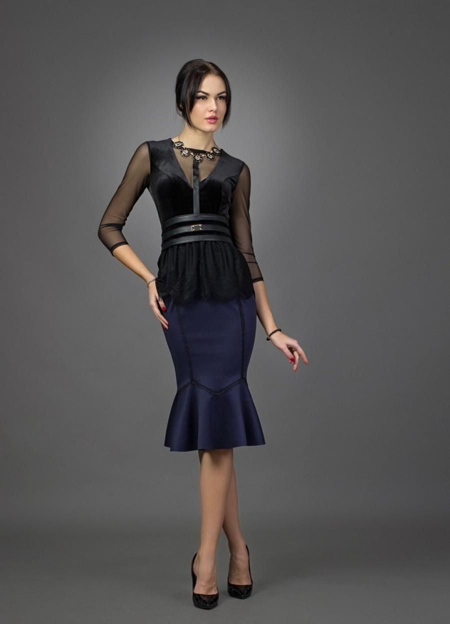 Evening Dress Navy Blue And Black Lace Cocktail Dress Knee Length ...