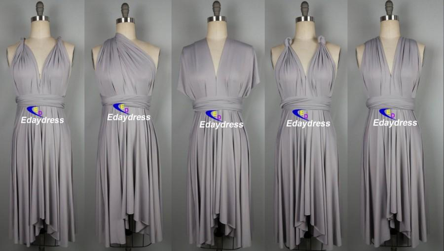 eef190f18e0 Summer Multi Way Bridesmaid Dress Infinity Dress Silver Short Knee Length  Wrap Convertible Dress Wedding Dress Evening Dresses