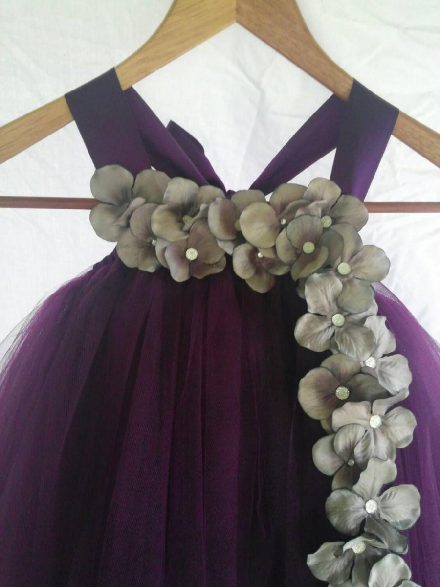 Свадьба - Plum and Silver Flower Girl Dress, Junior Bridesmaid Dress, Infant Pageant Dress, Tulle Baby Dress,Baby Birthday, Pageant Dress, Tulle dress