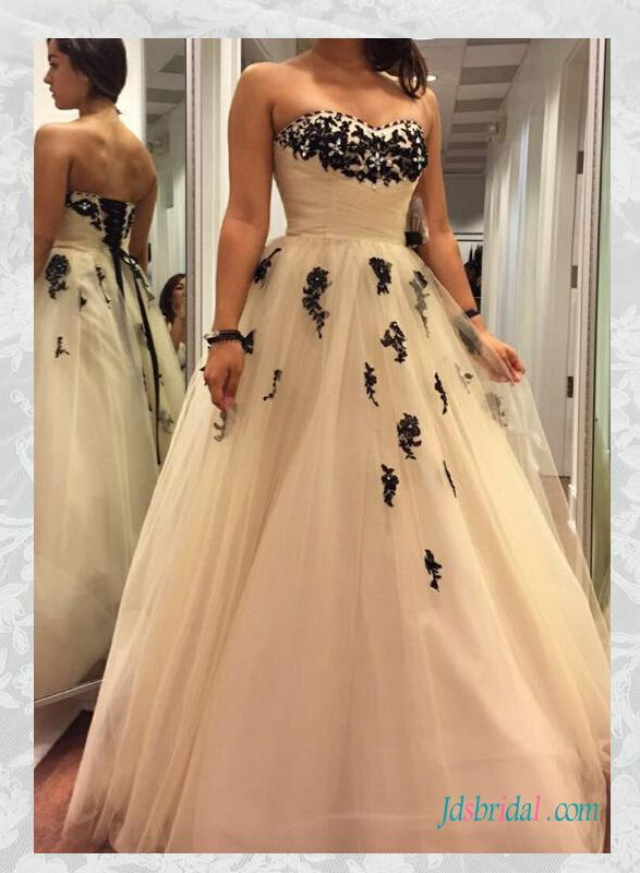 H1592 cheap black and ivory colored tulle wedding dresses for Black wedding dresses online