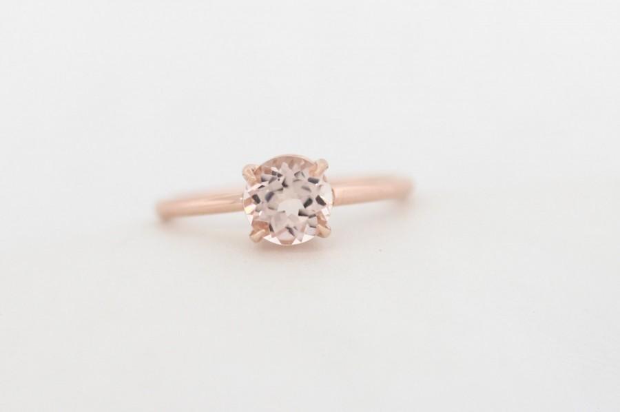 Mariage - Morganite Engagement Ring, One Carat Morganite Engagement Ring, 6.5mm Morganite Engagement Ring