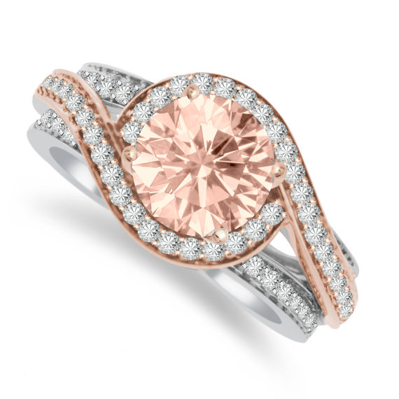 Свадьба - Morganite Engagement Rings Etsy - Online _ Swirl 1 Carat Morganite & Diamond Halo Swirl Engagement Ring 14k Rose Gold, Morganite Engagement Rings, Morganite Rings For Women - Anniversary