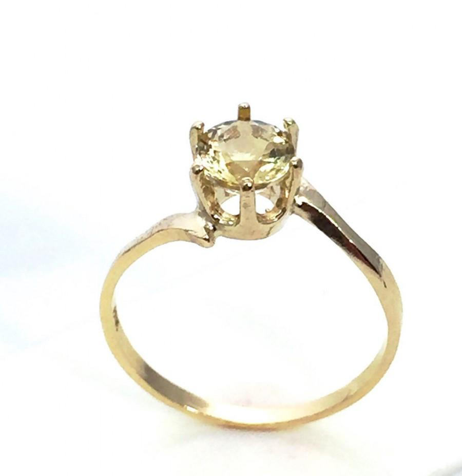 Unique Wedding Ring - Heliodor Gemstone Ring - 10K Yellow