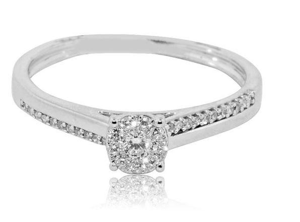 Wedding - Diamond Engagement Ring 0.15ctw 10K White Gold Promise Ring