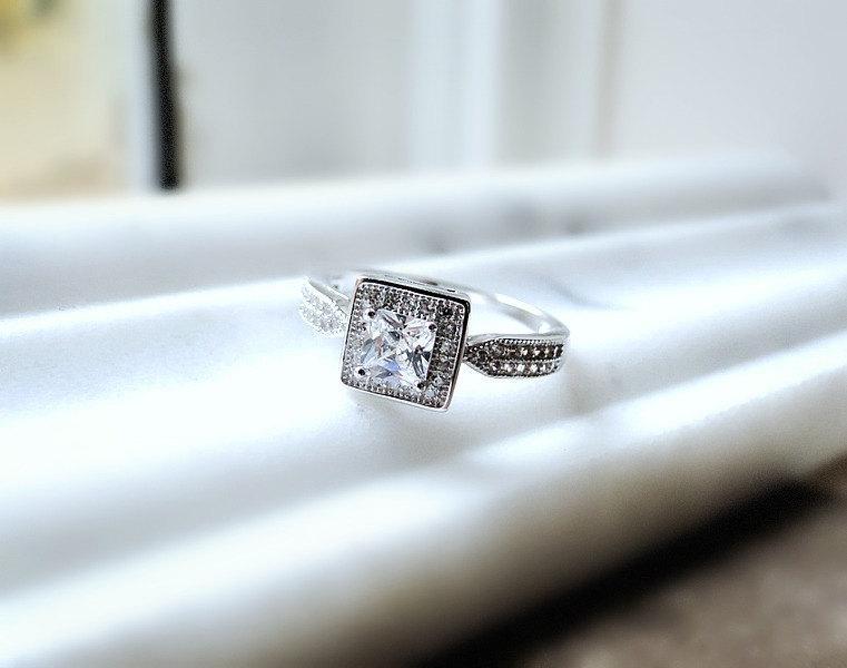 Mariage - Sterling silver ring set,  Set of two stacking rings, sterling silver ring set, solitaire silver ring, wedding band, layering rings
