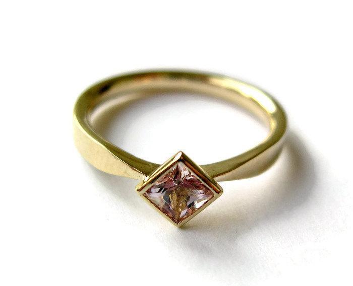 Wedding - Morganite Engagement Ring, Unique Ring, Square Morganite Bezel Set in 14k Yellow Gold RIng, Comfort Fit, Geometric, Morganite Jewelry