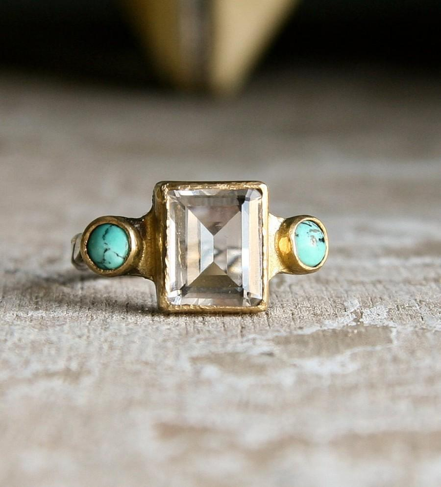Mariage - Emerald cut Clear Quartz and Turquoise sterling silver and gold vintage style ring-made to order