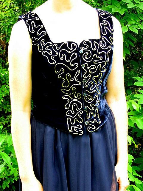 Wedding - Upcycled Two Piece Navy Blue Prom Dress Formal, Modern Size 6, Small