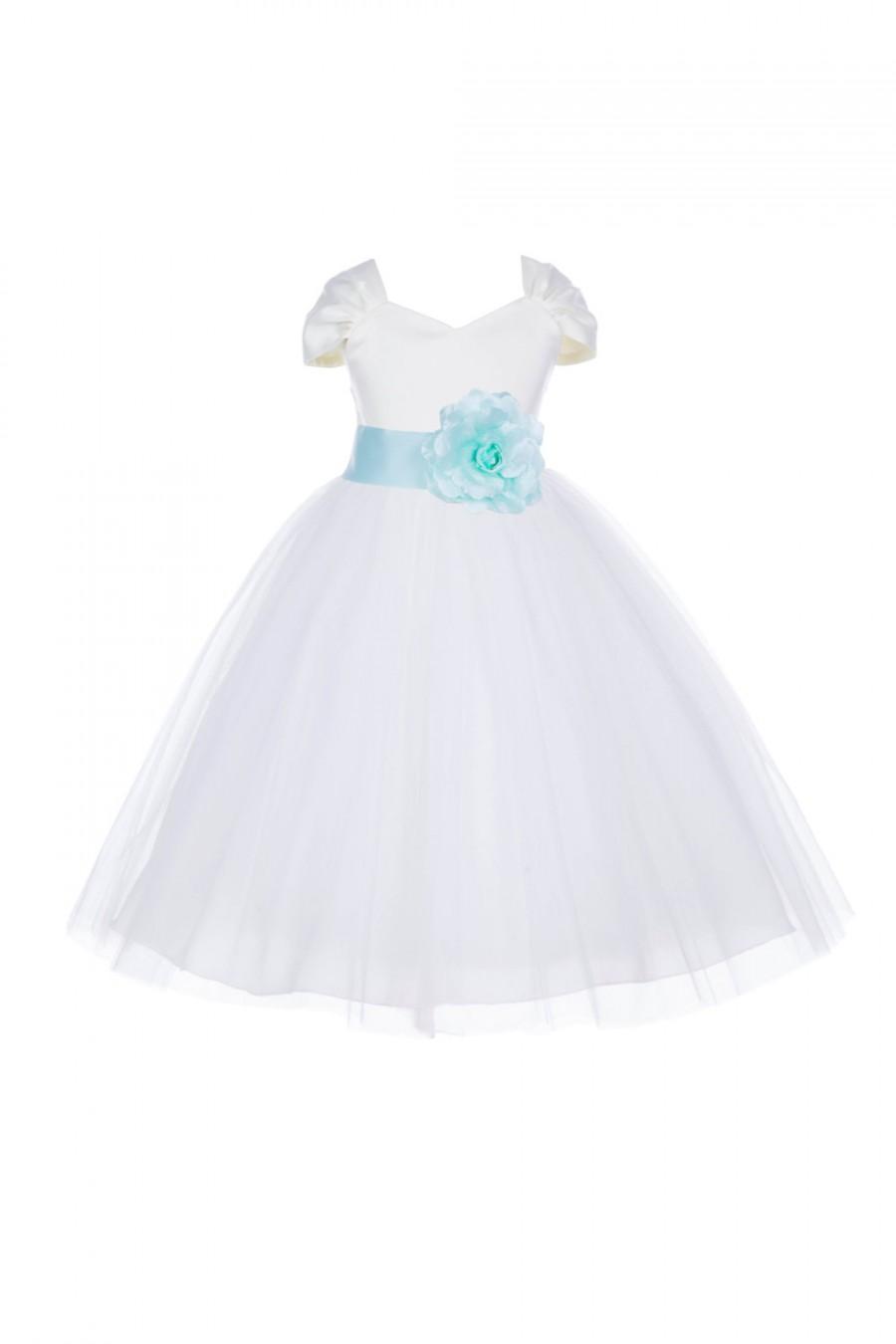 Mariage - Short sleeves Ivory Flower Girl dress V-shaped neckline pageant wedding bridal recital children tulle bridesmaid toddler 2 4 6 8 10 12