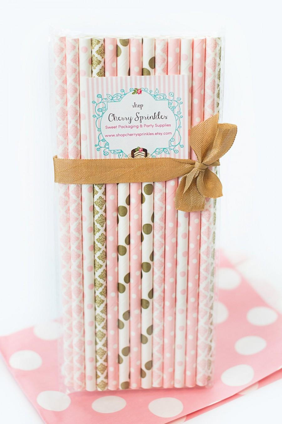 Mariage - PINK TUTUS -Party Supplies -Pinks and Golds  PINK Paper Straws for Baby Girl Showers, Weddings or Bridal Showers Gold Straws