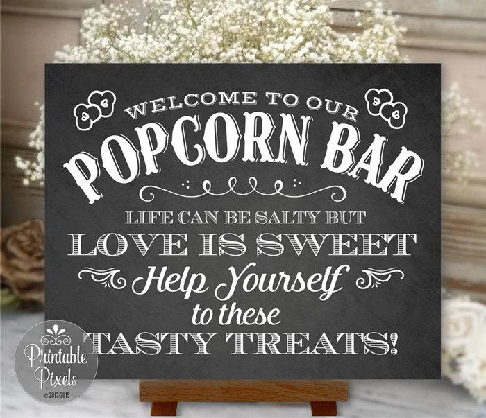 Popcorn Bar Sign Chalkboard Wedding Party Printable