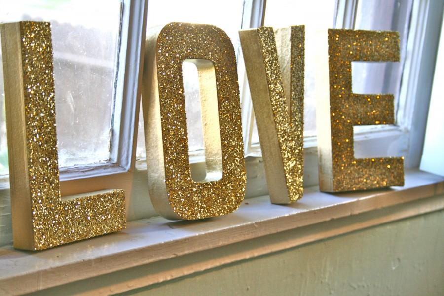"Wedding - Glittered ""LOVE"" Letters, Wedding or Party Decor, Self Standing"