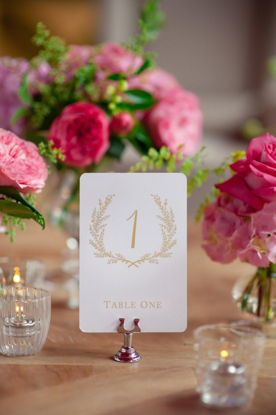 Mariage - Sweet Vintage Wedding Table Number Signs 1-10 Matte Gold