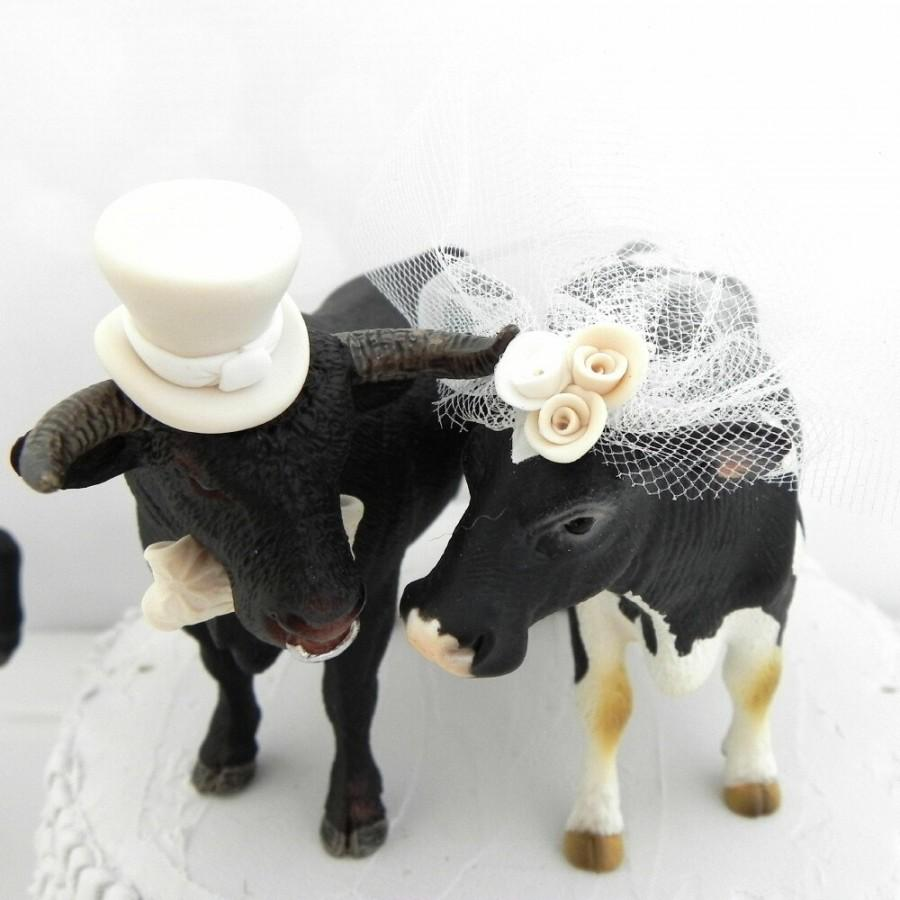 Cow And Bull Wedding Cake Topper