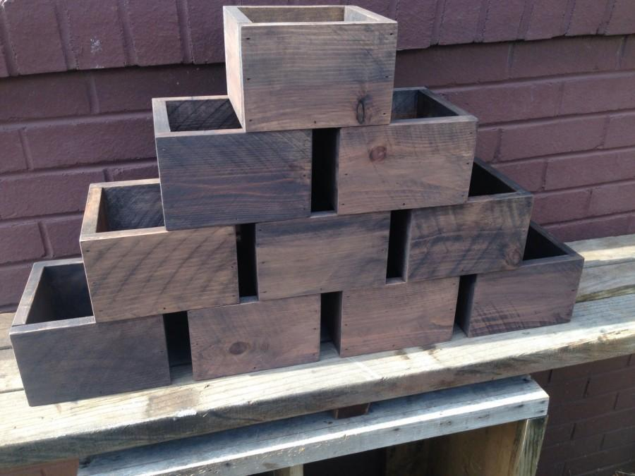 Свадьба - Set of Ten Rustic Wedding Centerpiece Flower Boxes, Table Centerpiece, Wood Flower Boxes