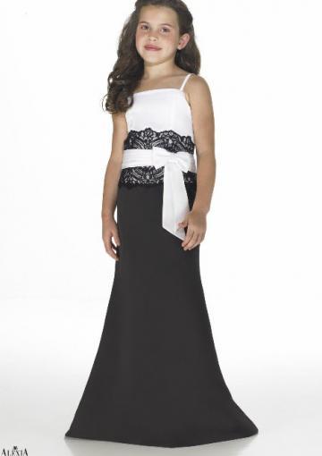 Wedding - White Black Satin Spaghetti Straps Sleeveless Appliques Sash Ruched Floor Length