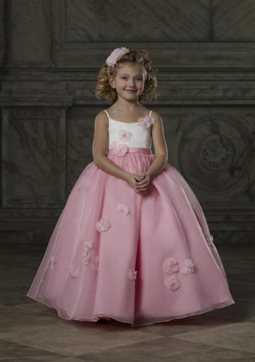 Свадьба - Spaghetti Straps Pink White Flowers Tulle Sleeveless Ruched Floor Length