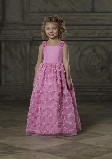Свадьба - Flowers Appliques Pink Straps Chiffon Ruched Sleeveless Floor Length