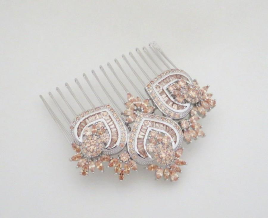 Wedding - Champagne crystal hair comb, Bridal hair comb, Wedding headpiece, Rose Gold hair comb, Rhinestone headpiece, Bridal hair clip, EMMA