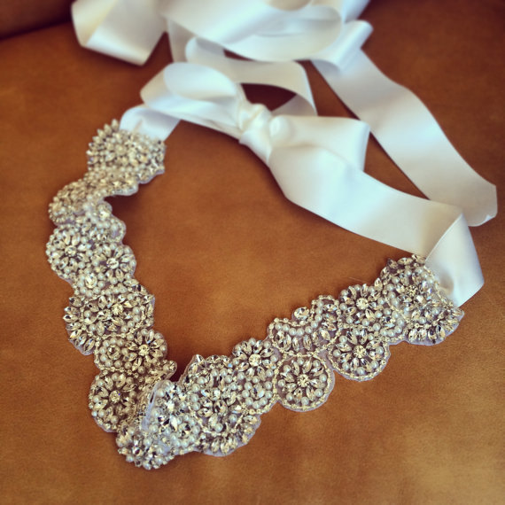 Свадьба - Custom made bridal sash, luxurious rhinestone bridal belt