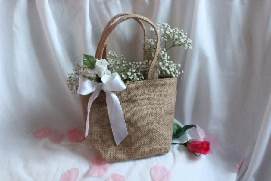 Свадьба - Custom Flower girl bag / basket, burlap / hessian with trim and flower trim. Quality item for barn wedding, rustic or country theme