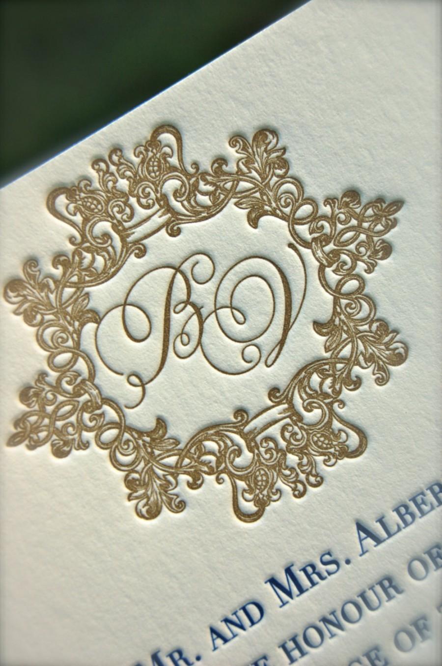 Свадьба - Letterpress Navy and Gold Wedding Invitation with Ornate Monogram Deposit