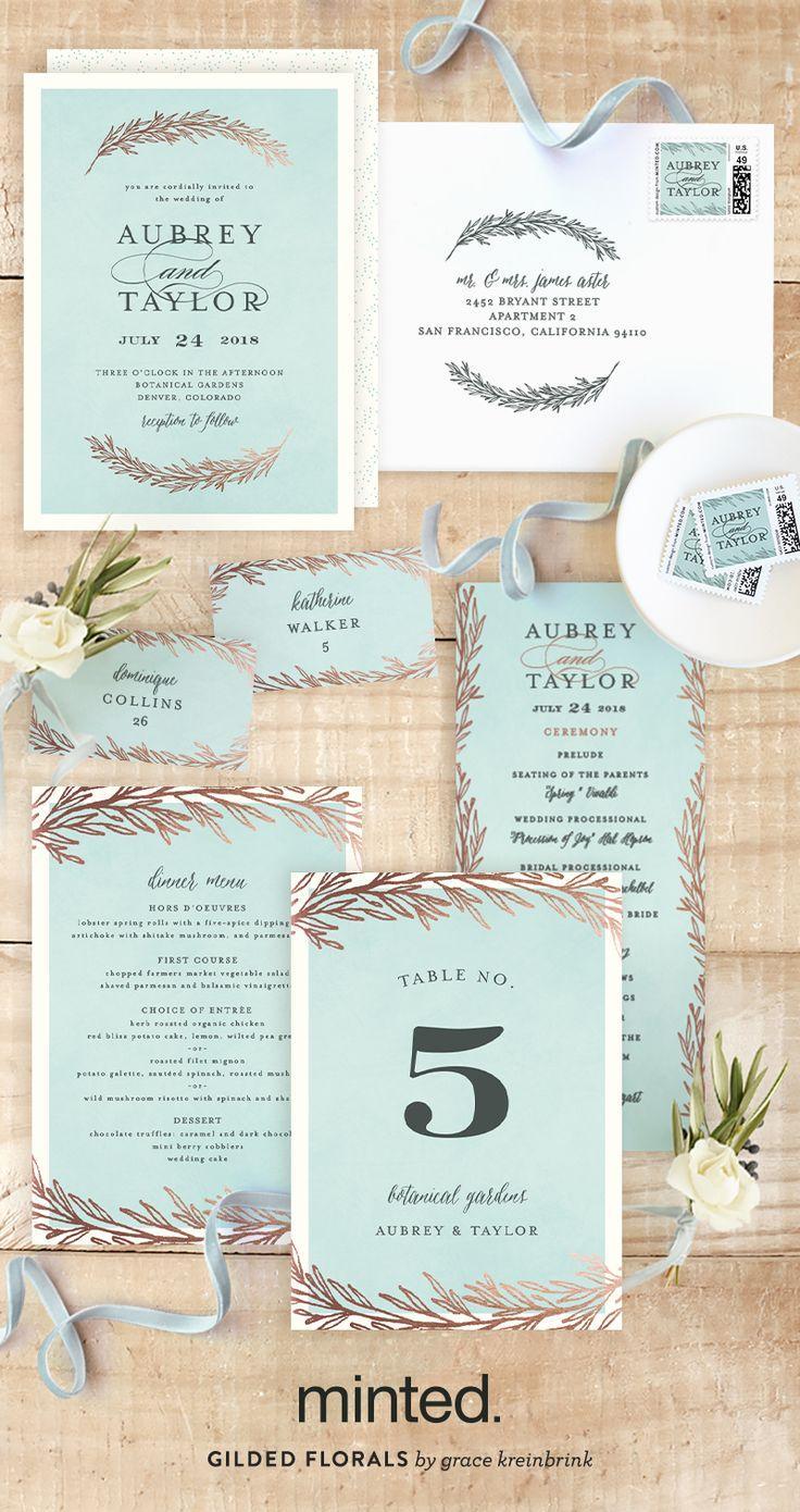Dipped Laurels Foil-Pressed Wedding Invitations #2522354 - Weddbook