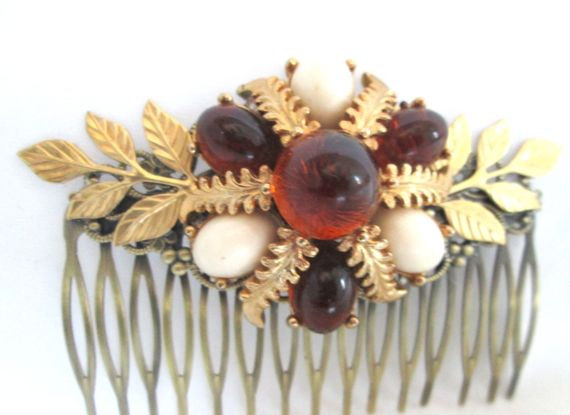Mariage - Autumn Wedding Hair Comb Amber Brown Handmade Bridal Leaves Hairpiece Hairpin Accessories Vintage Gold