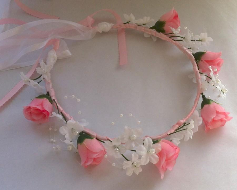 Mariage - Heart and Rosebud Bridal or Flower Girl Floral Ribbon Crown Halo Head Piece Wreath Garland Pink White C-Jennifer