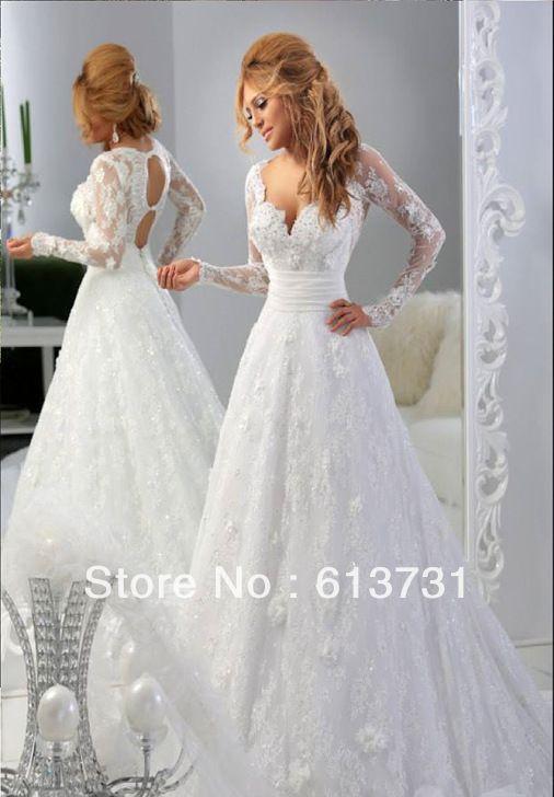 Mariage - 2015 Long Sleeve White/Ivory Lace Wedding Dress Bridal Gown Size 6 8 10--16 18