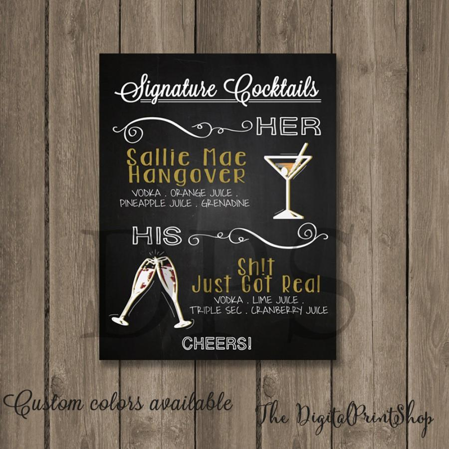 Wedding SIGNATURE Drinks Sign BAR Menu Chalkboard Signage Cocktails Rustic Chic Reception Digital Print DIY Printable File09 Jpg