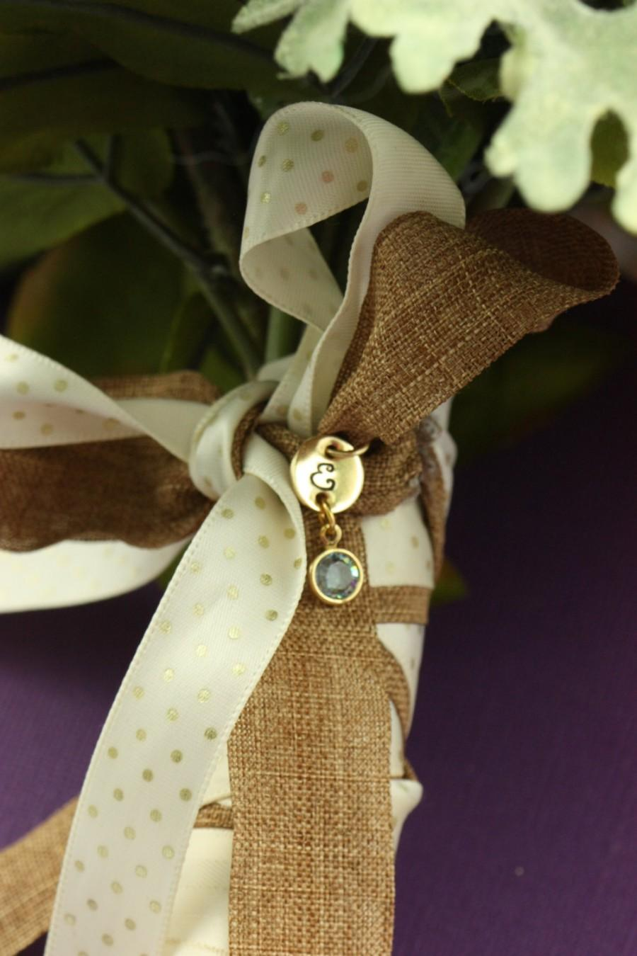 Mariage - Personalized Bouquet Charm - Wedding Bouquet - Gold Bouquet Charm - Custom Birthstone - Gift for Bride - Wedding - Bridal Gift