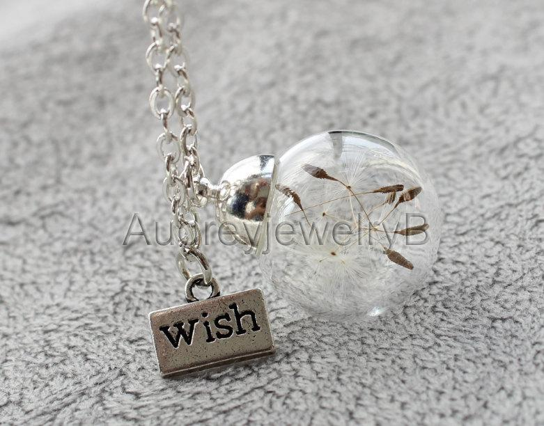 Mariage - 1PCS 20mm Dandelion seed Pendant with chain Dandelion Necklace  Make A Wish   Christmas Thanksgiving Valentine's Day necklace