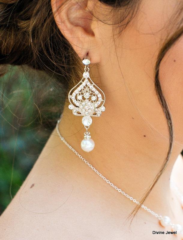 زفاف - Bridal Earrings,Pearl Earrings,Chandelier Earrings,Ivory or White Pearl,Statement Earrings,Pearl and Rhinestone Earrings,Bride,Pearl,STELLA