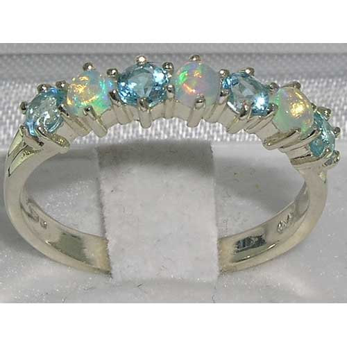 Wedding - English 925 Sterling Silver Genuine Natural Colorful White Opal & Blue Topaz Ring, Half Eternity Band, Stackable Ring - Customizable