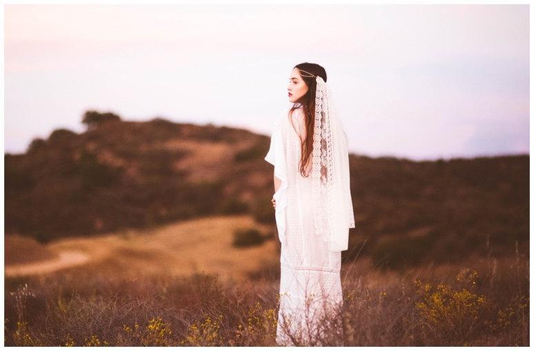 Wedding - Gypsy-Inspired Bridal Veil with Ivory Laces, Chiffon and a Rhinestone Bohemian Headpiece
