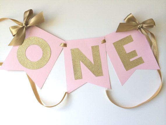 Pink And Gold HIGH CHAIR Banner First Birthday Decorations ONE High Chair Party Age
