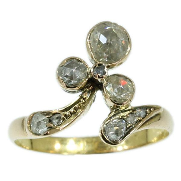 Wedding - Antique Rose Cut Diamond Ring Rose Gold 14K Victorian Ring
