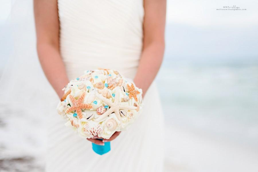 Mariage - Turquoise malibu blue seashell wedding bouquet with starfish and shells on silk flower roses for beach wedding and destination weddings
