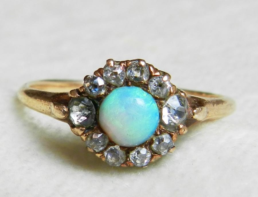 Mariage - Opal Ring Mine Cut Diamond Halo Ring 14K Blue Opal Ring Halo Engagement Ring October Birthstone Unique Engagement Anniversary Ring