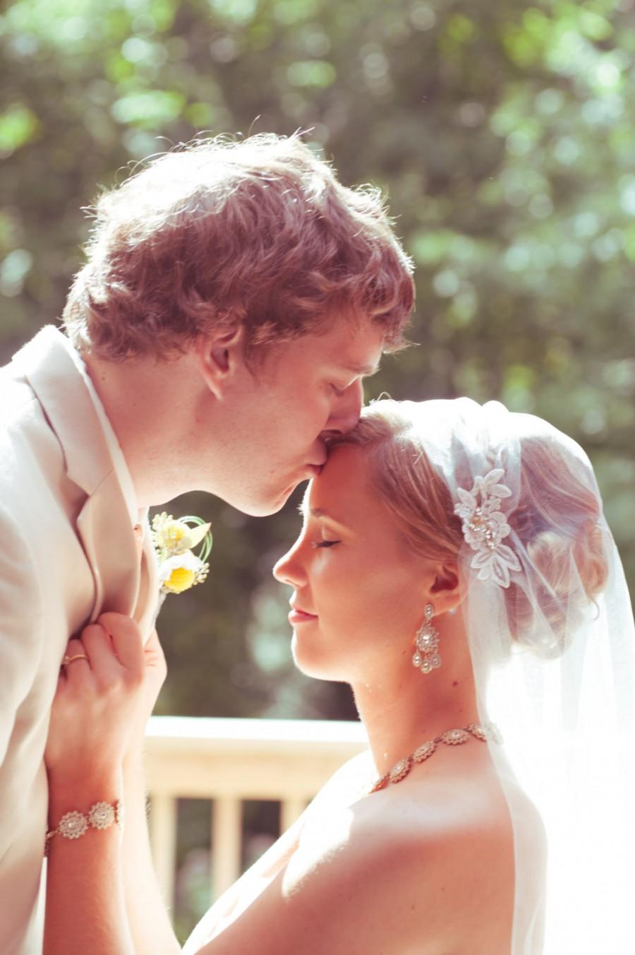 Hochzeit - White Cap Veil, Ivory Lace Cap Veil, Lace Flower Cap Veil, Vintage Veil, 1920 wedding veil, Tulle Veil, Juliet Veil, The Jessica Design